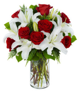 1 dozen Red Holland Roses with 2 pcs Stem Lilies in a Vase