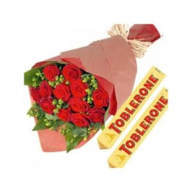 1 dozen Red Holland Roses with 2 pcs Tobleron 100g