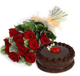 1 dozen Red Holland Roses with 8″ Chocolate Dedication Cake