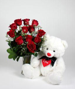 1 dozen Red Holland Roses with 8″ inches Teddy Bear