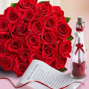 1 dozen Red Holland Roses with Message in a Bottle