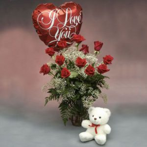 "1 dozen Red Holland Roses with Teddy Bear 4″ inches and Mylar ""I Love You"" Balloon"