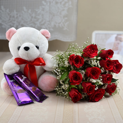 1 dozen Red Holland Roses with Teddy Bear 8″ inches and 2 pcs Cadbury Cashew Cookies 65g