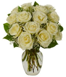 1 dozen White Holland Roses in a Vase