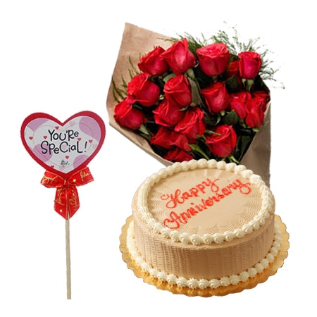 1 dozen red roses with mocha 8×8 cake from Goldilocks