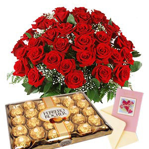 2 dozen Red Holland Roses with 24 pcs Ferrero Rocher