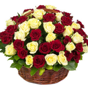 2 dozen White and 2 dozen Red Holland Rose in a Basket