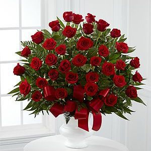 3 dozen Red Holland Roses in a Vase