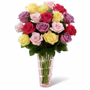 4 Mixed Color of 2 dozen Holland Roses in a vase