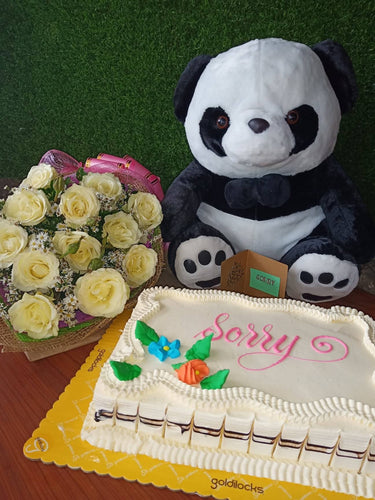 1 Dozen Yellow Roses with Mocha cake and Panda
