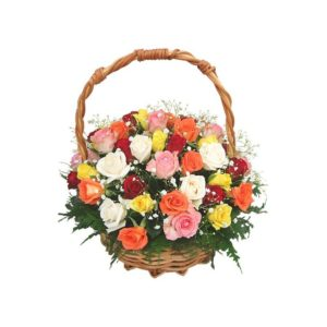 5 Mixed Color 24pcs Roses in a Basket