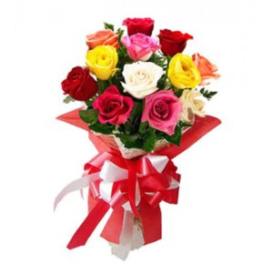 5 Mixed Color of 12 pcs Holland Roses in a Bouquet