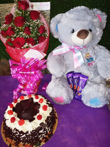 Red Roses with Black Forest cake and Beautiful 16inches Bear and 3 bars 30g Cadbury