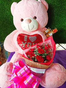 Pink 3ft Teddy and 1 Dozen Red Roses and Ferrero 6pcs