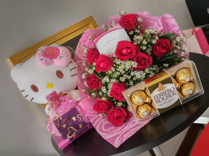 Hello Kitty  with 1 Dozen Roses and Ferrero Rocher box