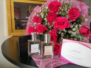 1 Dozen Pink Roses in a Bouquet with CAin and Burberry Perfume
