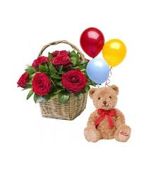 6 Roses in a Basket with Mini Teddy Bear and 3 pcs Balloon