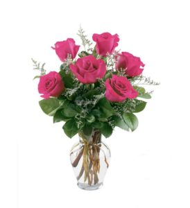 6 pcs Pink Holland Roses in a Vase
