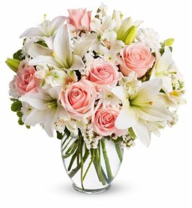 6 pcs Pink Roses with 3 pcs White Stem Lilies in a Vase