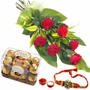 6 pcs Red Holland Roses with 16 pcs Ferrero Chocolate