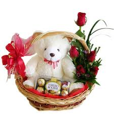 6 pcs Roses with 8″ inches Teddy Bear and 8 pcs Ferrero Rocher