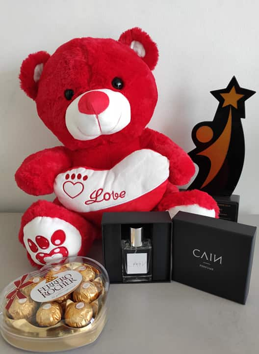 Philblossoms 16 inches Bear with 8pcs Ferrero and Cain Perfume