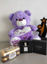 Load image into Gallery viewer, Philblossoms 16 inches Bear with 16pcs Ferrero and Cain Perfume