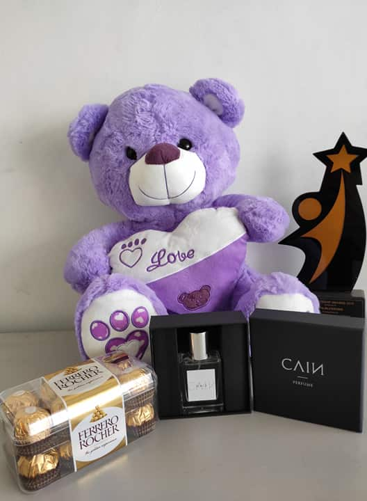 Philblossoms 16 inches Bear with 16pcs Ferrero and Cain Perfume