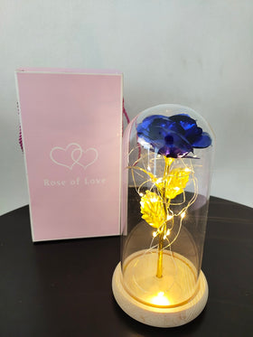 Rose In A Glass Dome On A Wooden vase For  Gifts with  LED