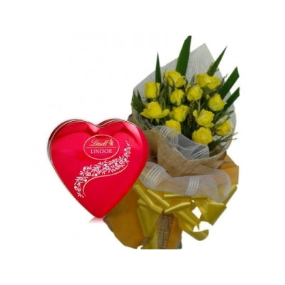 1 Dozen Yellow Roses in a Bouquet with LindtHeartshape