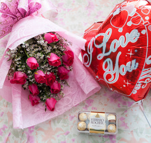 1Dozen Pink Roses in a Bouquet with 16pcs Ferrero Rocher and ILY Balloon