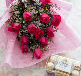 1Dozen Pink Roses in a Bouquet with 16pcs Ferrero Rocher
