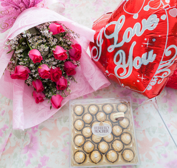 1Dozen Pink Roses in a Bouquet with 24pcs Ferrero Rocher in a box and ILY Balloon