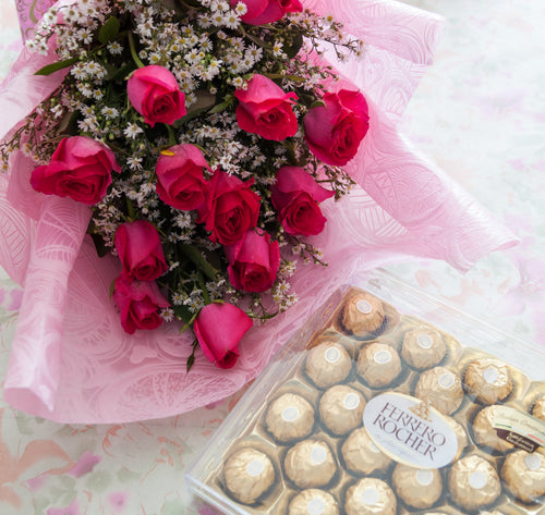 1Dozen Pink Roses in a Bouquet with 24pcs Ferrero Rocher in a box