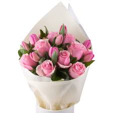 6Pink Tulips and 6Pink Roses in a Bouquet