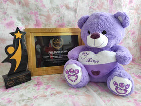 Philblossoms Purple16inhces Bear