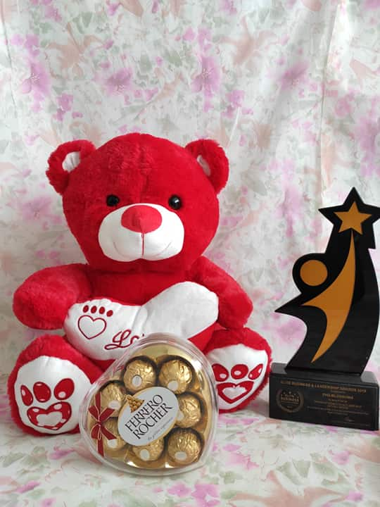 Philblossoms Red 16 inhces Bear wth 8pcs Fererro Chocolates