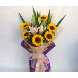 6 Pcs Sunflowers with 3 Stem Stargazer in a Bouquet