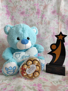 Philblossoms Blue 16inhces Bear wth 8pcs Fererro Chocolates
