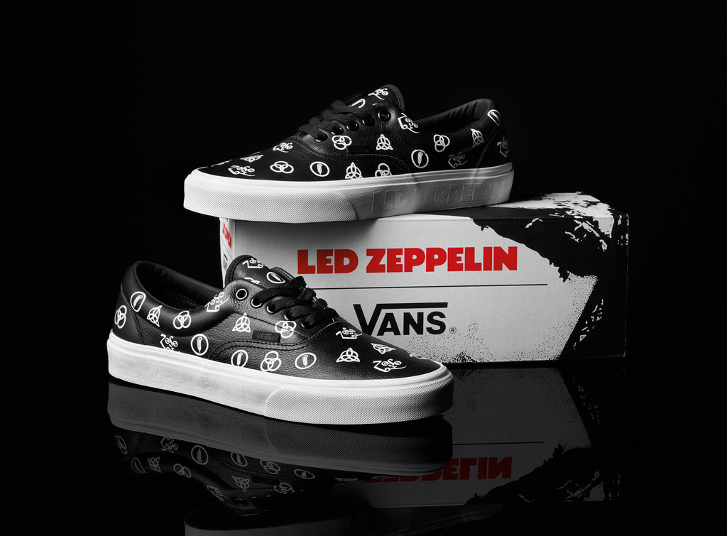 40201d11381bb6 Vans  Sk8-Hi utilises suede and canvas uppers to showcase the Led Zeppelin  album art printed with silver metallic hits on the quarter panel.