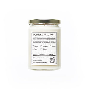 "Apotheke Fragrance Glass Jar Candle ""Basil+Sage+Mint"""