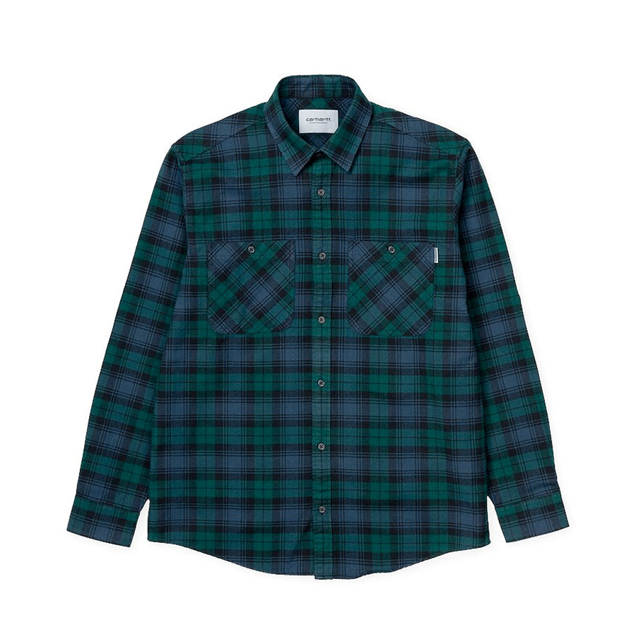 Carhartt Pelkey Check L/S Shirt Dark Fir/Blue