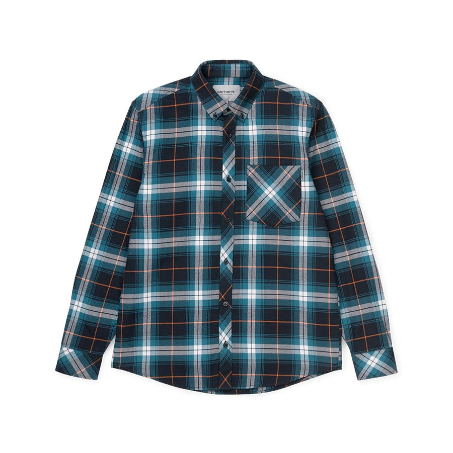 Carhartt Phil Check L/S Shirt Moody Blue