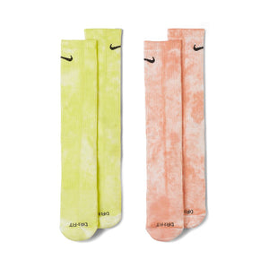 Nike Everyday Plus Cush Crew Sock 2Pack Tie-Dye Yellow/Orange DM3407-904