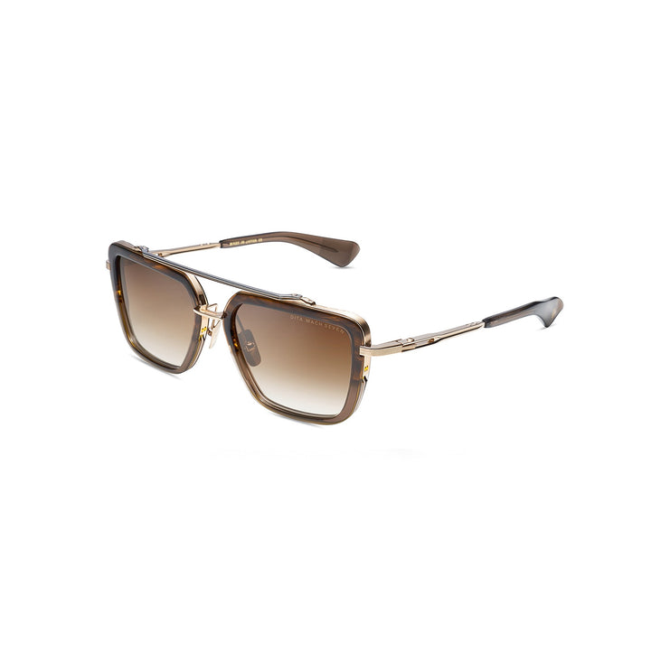 Dita Mach-Seven Dark Brown Crystal/White Gold/Black Palladium w/Dark Brown to Clear Lens