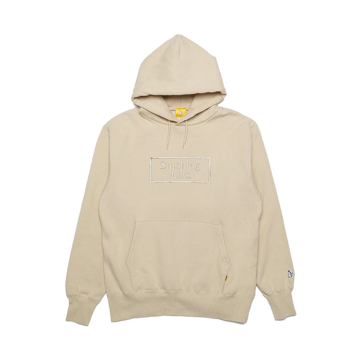 Fxxking Rabbits Smoking Kills Embroidery Hoodie Beige
