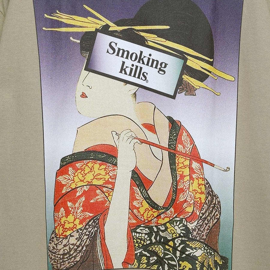 Fxxking Rabbits Ukiyo-e Smoking Kills Tee Khaki