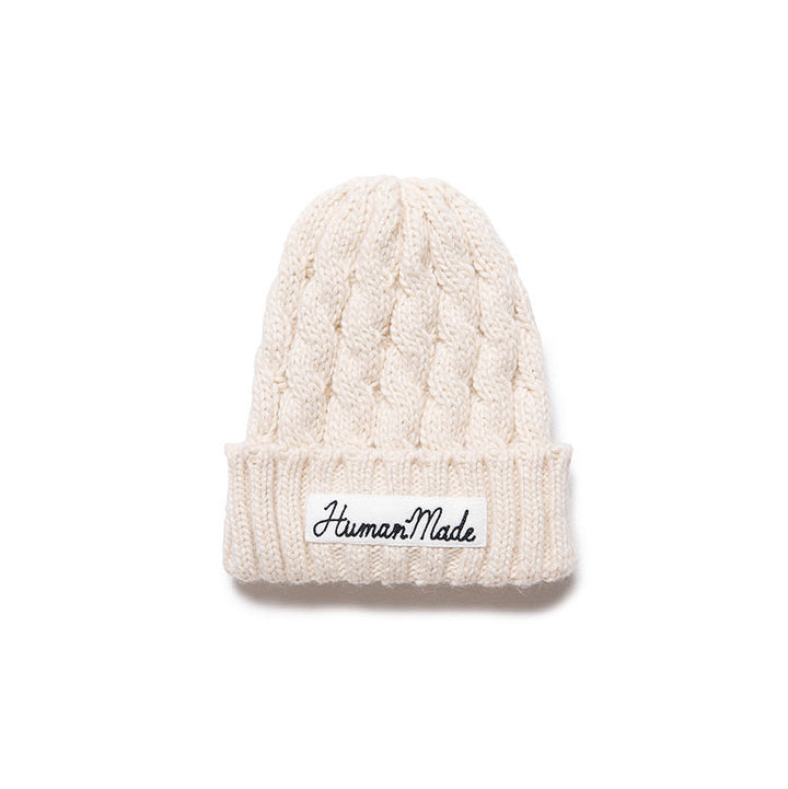 Human Made HM Cable Knit Beanie White