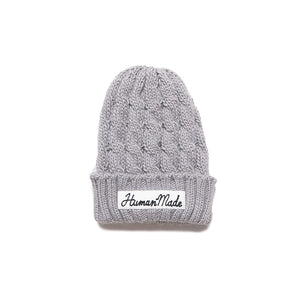 Human Made HM Cable Knit Beanie Grey