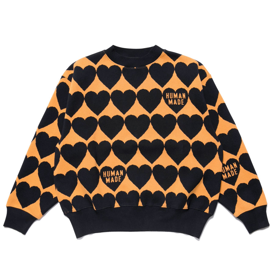 Human Made Heart Check Knit Sweater Orange/Black